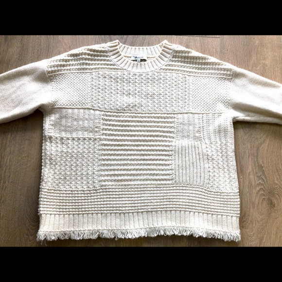 Madewell Cableknit Fringe Hem Sweater